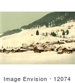 #12074 Picture Of The Village Of Leysin In Winter