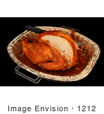 #1212 Thanksgiving Photography Of A Cut Turkey With A Knife In A Pan