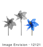 #12121 Picture of a Blue Pinwheel and Black and White Pinwheels by Jamie Voetsch