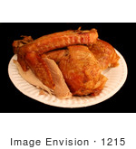 #1215 Photography Of Turkey Drumstick Wing White Meat And Dark Meat On A Plate