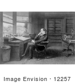 #12257 Picture Of Charles Dickens Seated At A Desk