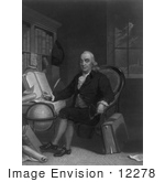 #12278 Picture Of Benjamin Franklin With Globe And Compass