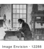 #12288 Picture Of Benjamin Franklin Working At A Desk