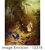 #12318 Picture Of A Butterfly Hunter With A Net In A Forest