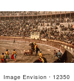 #12350 Picture Of A Bullfighting Scene In Barcelona Spain