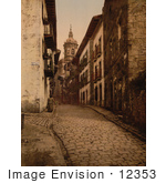 #12353 Picture Of A Cobbled Street Scene In Fuenterrabia Spain