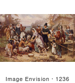 #1236 Photo Of The First Thanksgiving 1621 By Jean Louis Gerome Ferris