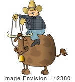 #12380 Cowboy on a Cow Clipart by DJArt