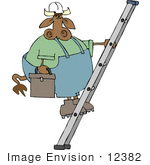 #12382 Construction Worker Cow On A Ladder Clipart