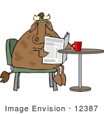 #12387 Cow Reading A Newspaper And Drinking Coffee Clipart