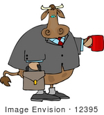 #12395 Business Man Cow Clipart