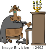 #12402 Cow Playing A Piano Clipart