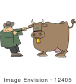 #12405 Farmer Pulling On A Bull Clipart