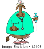 #12406 Cow In A Nurse Costume Clipart