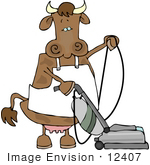 #12407 Cow Vacuuming Clipart