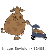 #12408 Mother Cow Pushing Her Calf in a Stroller Clipart by DJArt