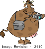 #12410 Cow Taking Pictures Clipart