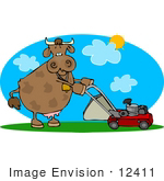 #12411 Cow Mowing a Lawn Clipart by DJArt