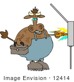 #12414 Cow Being Shocked Clipart