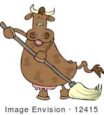 #12415 Brown Cow Mopping Clipart