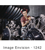 #1242 Photo of a Riveter Woman Working on Wires of a Motor by JVPD