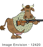 #12420 Cow In Camouflage Holding A Rifle Clipart