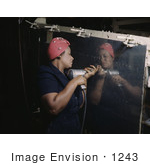 #1243 Photo Of An African American Riveter Woman Drilling On The Side Of A Bomber