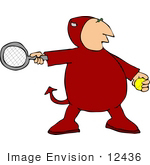 #12436 Devil Playing Tennis Clipart