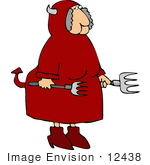 #12438 Female Devil With Pitchforks Clipart