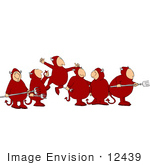 #12439 Group Of Devils Clipart