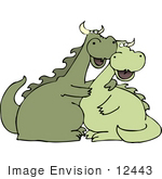 #12443 Two Dragons In Love Clipart