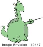 #12447 Dragon Using A Pointer Stick Clipart