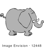 #12448 Elephant In Profile Clipart