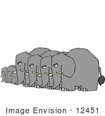 #12451 Elephants In A Row Clipart
