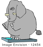 #12454 Elephant On A Scale Clipart