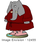 #12455 Elephant In A Robe Standing On A Scale Clipart