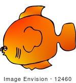 #12460 Orange Fish Clipart