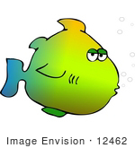 #12462 Rainbow Colored Fish Clipart