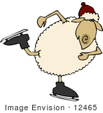 #12465 Ice Skating Sheep Clipart