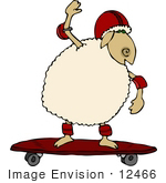 #12466 Sheep on a Skateboard Clipart by DJArt