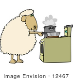 #12467 Cooking Sheep Clipart