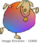 #12469 Colorful Sheep With a Bell Clipart by DJArt