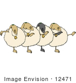 #12471 Singing And Dancing Sheep Clipart