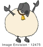 #12475 Sheep Wearing A Bell Clipart