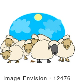 #12476 Flock of Sheep Clipart by DJArt