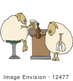 #12477 Sheep At A Bar Clipart