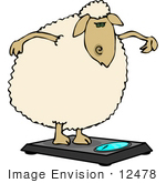 #12478 Sheep on a Scale Clipart by DJArt