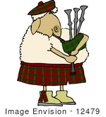 #12479 Sheep Playing Bagpipes Clipart