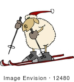 #12480 Skiing Sheep Clipart