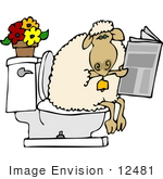 #12481 Sheep Using A Toilet Clipart